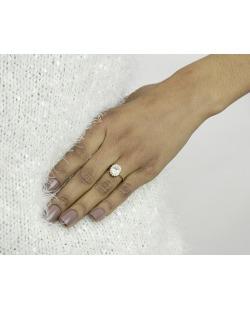 Anel de metal dourado com strass cristal Cess