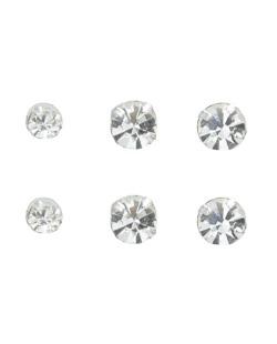 Kit 3 pares de brincos prateados folheados com pedra cristal  Nabhow