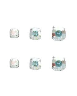 Kit 3 pares de brincos prateados folheados com pedra furta-cor Nabhow