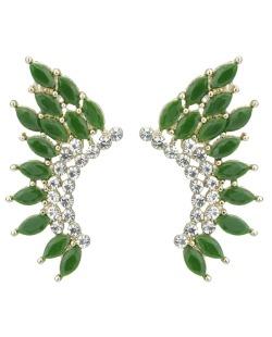 Brinco pequeno dourado com strass cristal e pedra verde Wismar