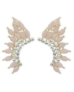 Brinco pequeno dourado com strass cristal e pedra rosa Wismar