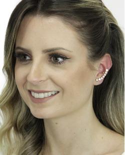 Ear cuff de metal dourado com strass cristal Wum