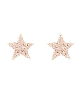 Brinco pequeno estrela com strass Swarovski rosê Paula Negrão