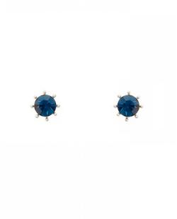 Brinco pequeno com pedra Swarovski azul Paula Negrão