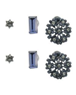 Kit 3 pares de brincos com strass azul Catmandu