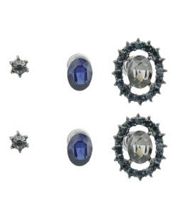 Kit 3 pares de brincos com strass azul e fumê Heta