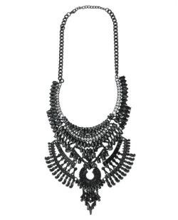 Maxi colar de metal preto Sauraha