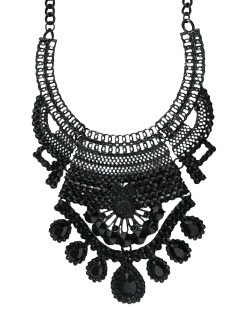 Maxi colar de metal preto Dulik