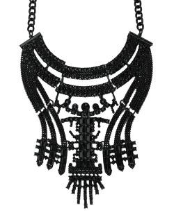 Maxi colar de metal preto Gorkha
