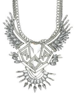 Maxi colar de metal prateado com strass cristal Bari