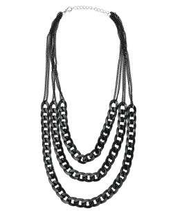 Maxi colar de metal preto Kirti