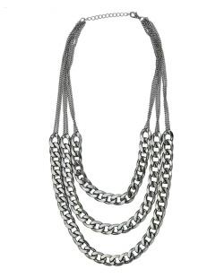 Maxi colar de metal grafite Kirti