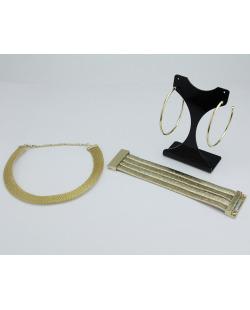 Conjunto Brilho Gold | 1 maxi brinco + 1 colar + 1 pulseira