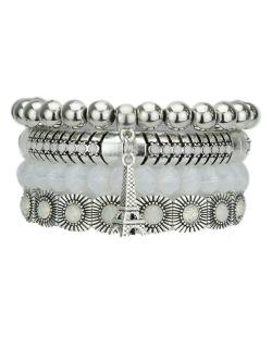 Kit 4 pulseiras de metal e acrílico prateado e branco Lesk