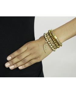 Kit 4 pulseiras de metal e acrílico dourado Lesk