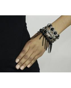 Kit 4 pulseiras de metal e acrílico prateado e preto Ovac