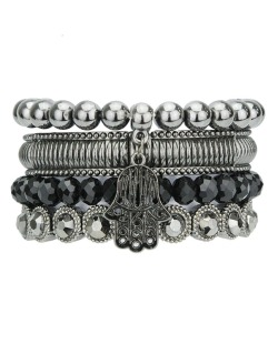 Kit 4 pulseiras de metal e acrílico grafite e preto Banja