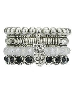 Kit 4 pulseiras de metal e acrílico prateado e cristal Banja