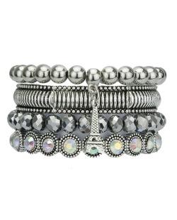 Kit 4 pulseiras de metal e acrílico prateado e furta-cor Banja
