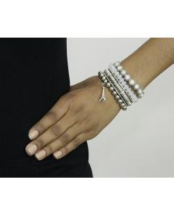 Kit 4 pulseiras de metal e acrílico prateado e branco Banja