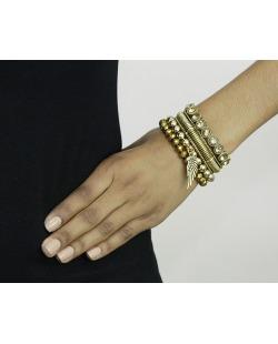 Kit 4 pulseiras de metal e acrílico dourado Banja