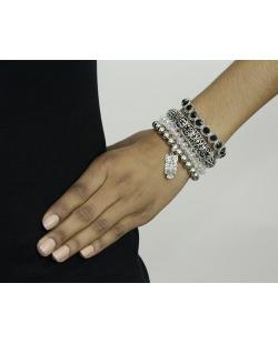 Kit 4 pulseiras de metal e acrílico prateado e cristal Sombor