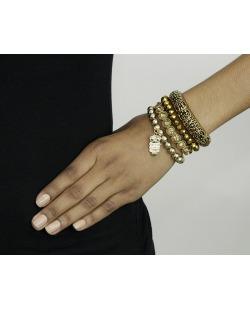 Kit 4 pulseiras de metal e acrílico dourado Sombor