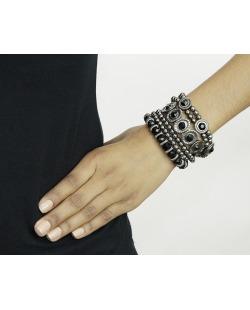 Kit 5 pulseiras de metal e acrílico preto e grafite Jacka
