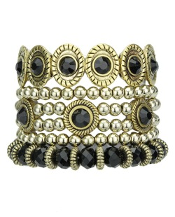 Kit 5 pulseiras de metal e acrílico dourado e preto Jacka