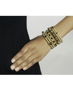 Kit 4 pulseiras de metal e acrílico dourado e preto Pan