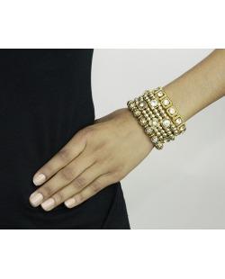 Kit 4 pulseiras de metal e acrílico dourado e cristal Pan