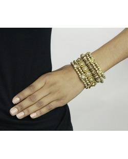 Kit 4 pulseiras de metal e acrílico dourado e licor Pan