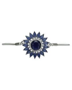 Pulseira de metal prateada com strass azul Stari