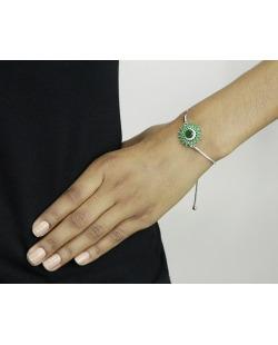Pulseira de metal prateada com strass verde Stari
