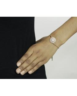 Pulseira de metal dourado com strass pink Stari