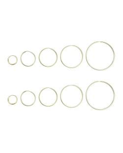 Kit 5 pares de brincos dourado argolas Loznica