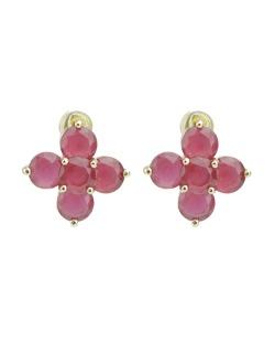 Brinco pequeno dourado com pedra rosa Flower