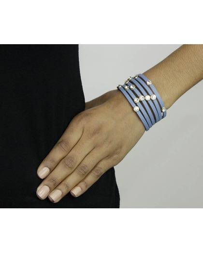 Pulseira de courino azul anil com strass cristal Casma