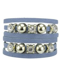 Pulseira de courino azul anil com strass cristal Bagua