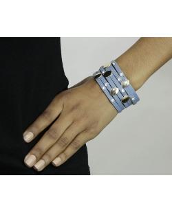 Pulseira de courino azul anil com strass cristal Chivay