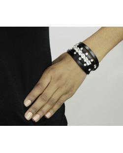 Pulseira 5 voltas de courino preto com strass cristal Oruro