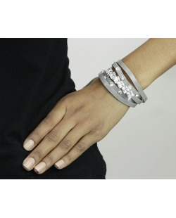 Pulseira 5 voltas de courino cinza com strass cristal Oruro