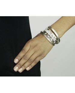 Pulseira 5 voltas de courino dourado com strass cristal Oruro
