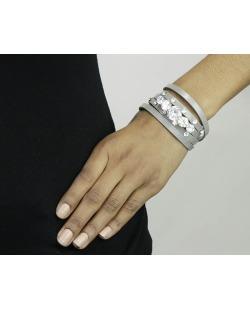 Pulseira 5 voltas de courino cinza com pedra cristal Tarija