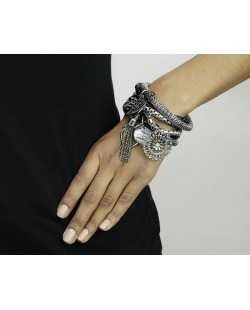 Kit 6 pulseiras de metal preto e grafite Riber