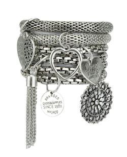 Kit 6 pulseiras de metal prateado Riber