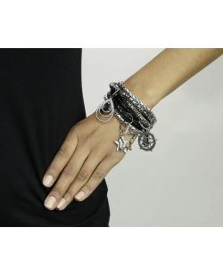 Kit 6 pulseiras de metal preto e grafite Cobija