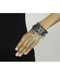 Kit 6 pulseiras de metal grafite Cobija