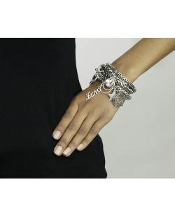 Kit 6 pulseiras de metal prateado Cobija