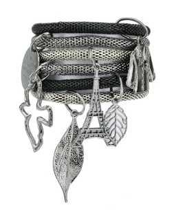 Kit 6 pulseiras de metal preto e grafite Uyuni
